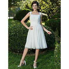 A-line/Princess Square Knee-length Chiffon Wedding Dress  – USD $ 79.99