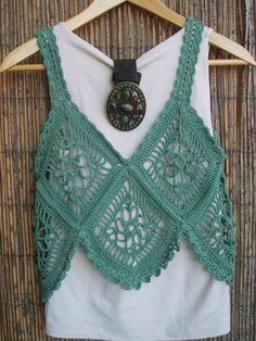 Gehäkelte hellgrüne Damen Strickweste -#Bluse