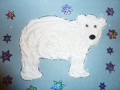 Read the Polar Bear, Polar Bear book and then do this craft, fast and easy. Foam shaving cream, glue,  blue construction paper, polar bear template wiggly eyes and pom poms for noses. Mix equal parts cream and glue for puffy paint. Glue template on paper, paint with puffy paint, decorate.