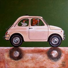 006 FIAT CINQUECENTO folded art cards dogs in cars by edart, $3.25