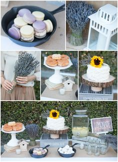 Tangled Inspired 21st Birthday: Rustic Lavender and Yellow. Gorgeous rustic birthday party decor with lavender and yellow elements. Dessert table filled with buttercream frosted cake, donuts, and macrons. Lots of dried lavender, wood cuts, and lanterns.