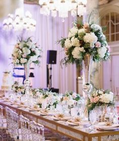 White and Green Wedding Reception Centerpiece