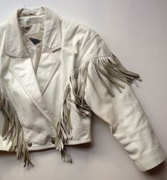 80s White Leather Cropped Jacket with Fringe Size by BarbeeVintage, $68.00