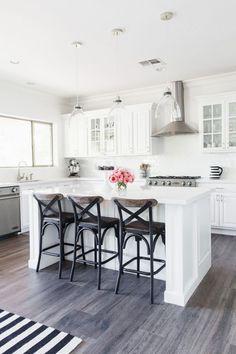 My White Kitchen | Stoegbauer Home Tour 2016 Victoria White Quartz Countertops White Subway Tile Backsplash Gray/Brown Wood-Look Tile @westelm Pendant Lights