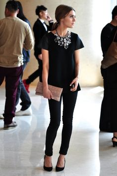 """Love the """"collar Necklace"""" with the simple all black outfit...what a way to """"dress up"""" something so basic."""