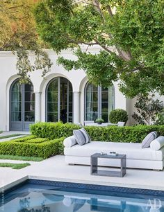Like the clean look of this, formal. Pool is really nice - like the color, edge (coping overhang)
