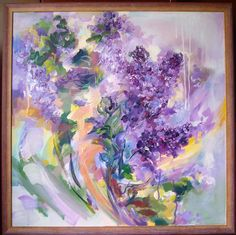 Lilac flowers- acrylic on canvas, 60/60 cm, 2017, Derecichei Simona Mihaela