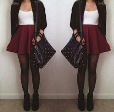 Burgundy skater skirt, White top, Black Cardi and Black tights. Image Fashion, Look Fashion, Teen Fashion, Autumn Fashion, Fashion Outfits, Womens Fashion, Fashion Design, Fashion Trends, Trending Fashion