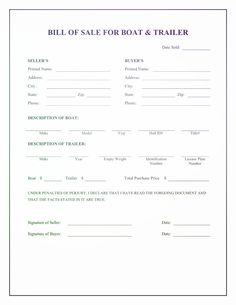 Free Boat Trailer Bill Of Sale Form Download Pdf Word