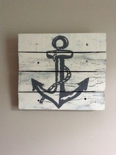 """Anchor 14""""X14"""", Rustic Art,Beach house,wood pallet art,wood planks,nautical decor,kids baby bedroom,sail boat theme,children,summer home on Etsy, $47.99"""