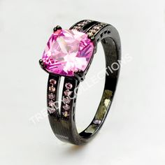 SZ 5-10 Pink CZ Black Rhodium Ring. Starting at $4 on Tophatter.com!