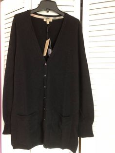 fca1b9008db women s Burberry long sleeve cashmere cardigan size L nwt