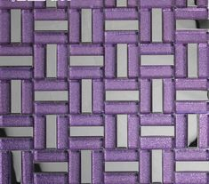 Collection: Metal Glass Mosaic Tiles; Material: Glass, Stainless Steel; Color: Purple, silver; Shape: Strip; Size: 300mmx300mm; Chip Size: 15mmx48mm; Thickness: 8mmThese interesting fusion tiles combine glass and metal and come in several different shapes, sizes, and colors. With their versatility and clean, modern aesthetics, our glass and metal tiles are especially perfect on the kitchen backsplash and installed as bathroom tile. The materials and elements match rooms with a water theme… Blue Glass Tile, Glass Mosaic Tiles, Stone Mosaic, Mirror Tiles, Wall Mirror, Steel Art, Modern Aesthetics, Stainless Steel, Violets