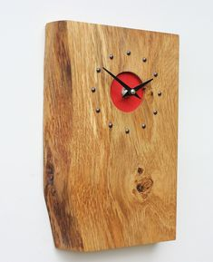 Oblong Oak Wall Clock with Red Face By Steve T
