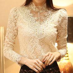 New Spring 2014  Women Crochet Blouse Lace Chiffon Shirt Women Clothing  Basic Shirt  Vintage Blusas Femininas Blouses & Shirts-inBlouses & ...
