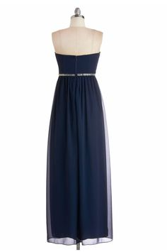 Modern Sweetheart Column Foor Length Chiffon Dark Navy Bridesmaid Dress With Beading