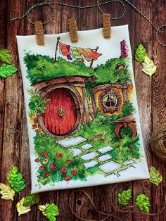 Green courtyard in the Shire Dmc Cross Stitch, Modern Cross Stitch, Cross Stitch Embroidery, Cross Stitch Patterns, Hobbit Art, O Hobbit, Casa Dos Hobbits, Needlepoint Patterns, Simple Art