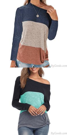 Leisure Bat Sleeve Round Neck Loose Stripe Contrast Color T-Shirt Twisted Tops #tops #stripe #shirt