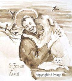 St Francis Of Assisi Quotes Stfrancis Of Assisi Art Print  Saint Francis Saints And Santos