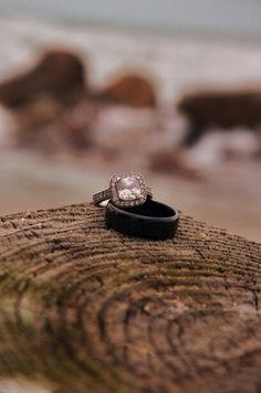Beach wedding ring shot