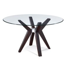 Bassett Mirror Company   Bassett Mirror Exclamation 54 Inch Round Glass Top Dining Table