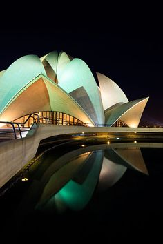 The Baha'i House of Worship, more commonly known as the Lotus Temple due to its flowerlike shape, designed by Iranian-Canadian architect Fariborz Sahba. Lotus Temple, Midnight Sky, Travel Photographer, Iranian, Myrtle, Unity, Worship, My House, Palace