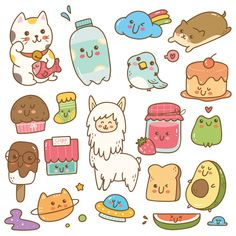 Cute Little Drawings, Cute Cartoon Drawings, Cute Kawaii Drawings, Doodles Kawaii, Cute Doodles, Easy Disney Drawings, Easy Drawings, Kawaii Stickers, Cute Stickers
