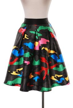 Multi Print Camouflage Skirt