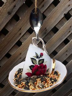 Garden Bird Feeders, Nutritious Snacks, How To Attract Birds, Silver Spoons, Garden Ornaments, Falling Apart, Vintage China, Teacup, Red Roses