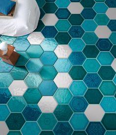 Cerasarda's Sardinia tile in glazed ceramic by Serenissima Cir Industrie Ceramiche. Unique Tile, Hexagon Tiles, Interior Design Magazine, Color Tile, Glazed Ceramic, Tile Patterns, Tile Design, Kids House, Interior Inspiration