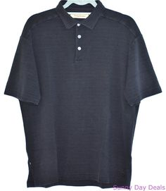 Tommy Bahama Shirt Polo Silk Cotton Solid Textured Short Sleeve Navy Blue L #TommyBahama #PoloRugby