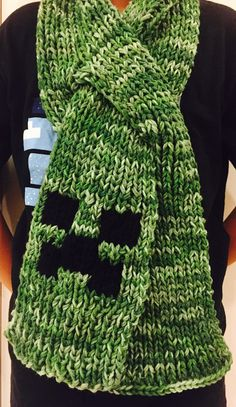Minecraft Creeper Hand Knitted (with double strands) Scarf, winter scarf, Minecraft scarf, ski scarf