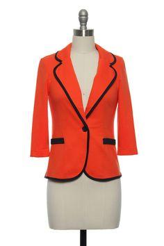 Preppy Orange Women's Blazer