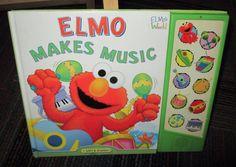ELMO MAKES MUSIC LIFT & LISTEN BOARD BOOK, GREAT READ, GUC, NEEDS BATT.