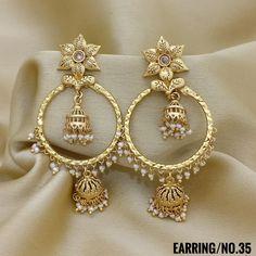 Jewelry OFF! Rama Creations Manufacturer Wholesalers of Imitation Bridal Jewellery in India. Gold Jhumka Earrings, Indian Jewelry Earrings, Bali Jewelry, Jewelry Design Earrings, Gold Earrings Designs, Antique Earrings, Beaded Jewelry, India Jewelry, 1 Gram Gold Jewellery