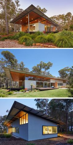 Skillion roof, great way to ha e shelter in the back of our homes. Archterra Architects have designed the Bush House, a home surrounded by Australian bushland, in the town of Margaret River. Shed Homes, Prefab Homes, Residential Architecture, Architecture Design, Plan Chalet, Shed Design, Modern House Design, Modern Houses, House Roof Design