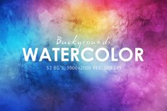 52 Watercolor Backgrounds by ArtistMef on @creativemarket