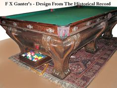 Custom Carved Walnut Pool Table - Handmade Six Leg F X Ganter's Style. Old Classic Billiards Tables, Solid Wood Pool Tables, Handmade In America Since 1913 Leonardo Da Vinci Renaissance, Antique Pool Tables, Pool Table Games, Custom Pool Tables, Table Maker, Game Room Furniture, Renaissance Architecture, Arts And Crafts Movement, Antique Photos