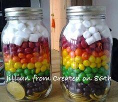 DIY: St. Patrick's Day Rainbow Jar Craft - Drugstore Divas diy, craft, kids craft, st. patrick's day craft, st. patrick's day kids craft, skittles, rainbow