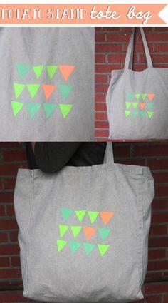 #DIY potato stamp geometric tote bag // the spotted fox
