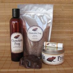Chocolate Frog Harry Potter Themed Spa Gift Set - Bath Salt, Soy Candle, Soap, Lotion and Lip Balm by CherryPitCrafts on Etsy