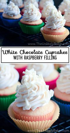 Imagine white chocolate cupcakes with raspberry filling then topped white chocolate cream cheese frosting. Definitely a luxurious and indulgent treat for white chocolate fans.