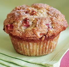 Cinnamon-Rhubarb Muffins - sub Greek yougurt for sour cream to save on fat and give a protein boost, freeze to keep on hand and reheat individually for b'fast