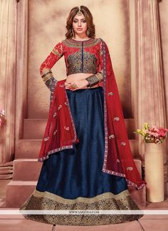 You will be sure to make a effective fashion statement with this navy blue fancy fabric designer a line lehenga choli. The fantastic attire creates a dramatic canvas with unbelievable embroidered and ...