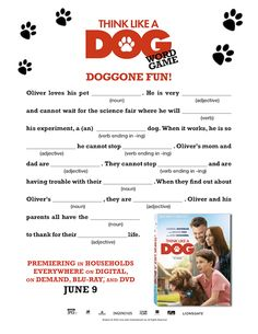 Think Like a Dog Printables *Giveaway* Dog Words, Activity Sheets, Word Games, Science Fair, New Movies, Love Him, Activities For Kids, Have Fun, Printables