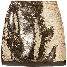 Rachel Zoe Finn sequined chiffon mini skirt (77.615 HUF) ❤ liked on Polyvore featuring skirts, mini skirts, gold, short skirts, sequin mini skirt, metallic skirt, mini skirt and holiday skirts