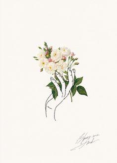 HOLDING FLOWERS | LINE ART | Cocorrina: