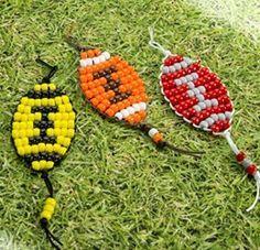 I just added this listing on Poshmark: Football pony bead design! Pony Bead Projects, Pony Bead Crafts, Beaded Crafts, Beading Projects, Craft Projects, Kids Crafts, Craft Ideas, Pony Bead Animals, Beaded Animals