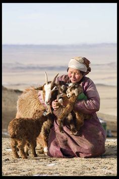 visit Mongolia, experience the culture outside of the city and stay in a Yurt. (love how she has them bundled up in arms. Mongolia, We Are The World, People Around The World, Photo Portrait, Beauty Around The World, Central Asia, World Cultures, Laos, Sheep