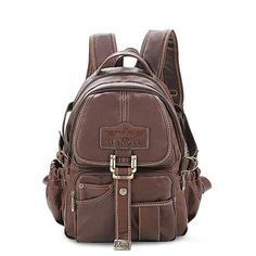 Preppy Style Dark Brown PVC Baggy Casual Backpacks with Neat Thread for Girls